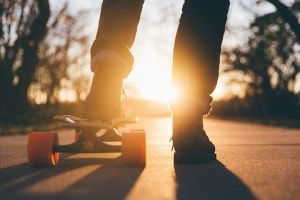 teen on skateboard